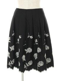エムズグレイシー スカート フラワーモチーフ 刺繍 ウール混 40【Aランク】【中古】tn190721