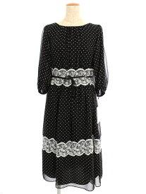 エムズグレイシー ワンピース Dot x Lace Dress ドット 半端袖 38【Sランク】 【中古】 tn190818