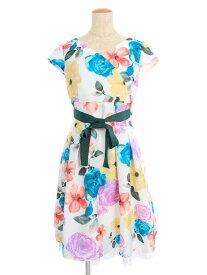 エムズグレイシー ワンピース Colorful Flower Dress 花柄 半袖 38【Sランク】 【中古】 tn190818