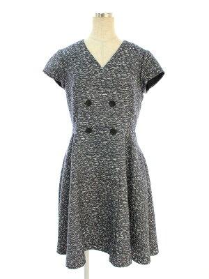 フォクシーニューヨーク collection ワンピース 36626 Melange Jaquard Double Breasted Dress 総柄 ノースリーブ 38【Bランク】 【中古】 tn191104