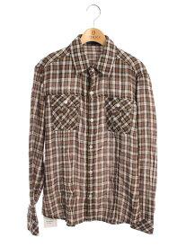 バーバリーブラックレーベル シャツ コットン チェックシャツ ワンポイント 長袖 M【Aランク】【中古】tn200702