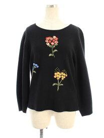 エムズグレイシー ニット セーター フラワーモチーフ ウール混 刺繍 長袖 40【Aランク】 【中古】 tn200705