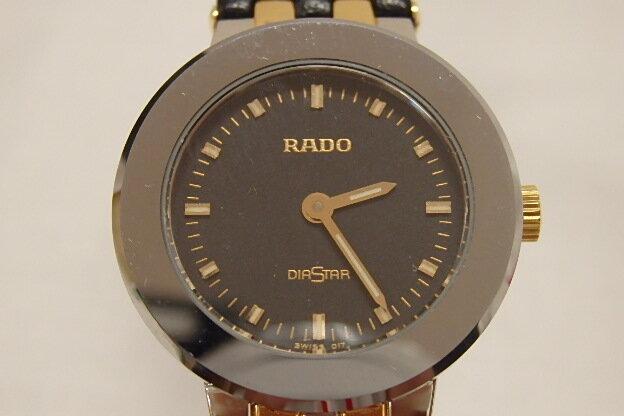 ラドー ダイヤスター 153.0344.3 レディース 腕時計 SS/レザー クォーツ ブラック文字盤 RADO 【中古】 bt759