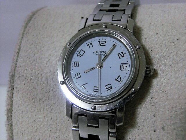 エルメス クリッパー CL4.210 レディース 腕時計 ホワイト文字盤 デイト SS サファイアガラス HERMES☆ 【中古】【送料無料】 bt1119