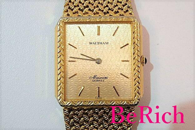 ウォルサム WALTHAM メンズ 腕時計 マキシム スクエア ゴールド 文字盤 SS 一体型 バンド メッシュ ブレス アナログ クォーツ QZ ファッション ウォッチ メンズ 紳士  【中古】 bt1407
