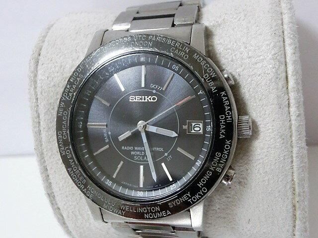 セイコー スプリット SBFT007 7B25-0AE0 SS ソーラー メンズ 腕時計 ブラック文字盤 デイト SEIKO 【中古】 mk1416