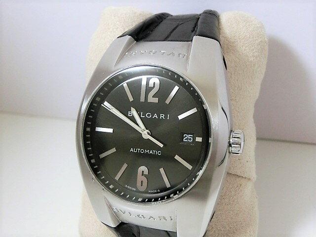ブルガリ エルゴン EG40S メンズ 腕時計 デイト SS/レザー 自動巻き ブラック文字盤 BVLGARI 【中古】 【送料無料】 mk1651