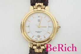 ジバンシィ GIVENCHY メンズ 腕時計 デイト ラウンド 白 ホワイト 文字盤 SS レザー ブレス アナログ クォーツ QZ ウォッチ ジバンシー 【中古】【送料無料】 bt1883