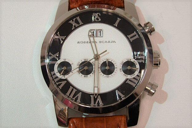 ロベルタ スカルパ ROBERTA SCARPA メンズ 腕時計 RS-6077 自動巻 白 黒 ホワイト ブラック 文字盤 ブラウン SS レザー 日付 カレンダー デイト アナログ ファッション ウォッチ 時計 紳士  【中古】 ht1742
