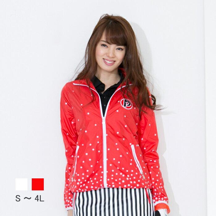 レディース ゴルフウェア 星柄ブルゾン レディース ゴルフ ジャケット 星柄 S〜4L 大きいサイズ BIGサイズ