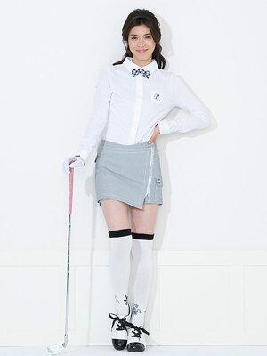 レディースゴルフウェア長袖リボン付ポロシャツレディースゴルフ長袖ポロシャツ