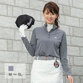 【選べる6サイズ】 ハートドット長袖ポロシャツ M L 2L XL LL 3L 4L 5L