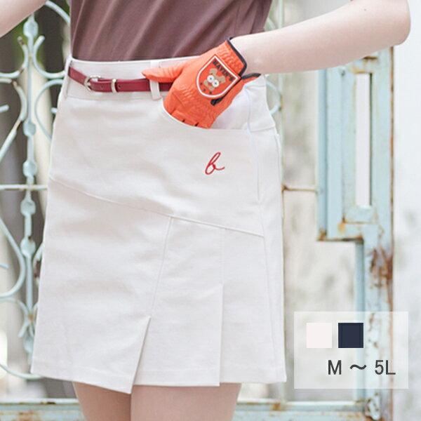 ゴルフウェア レディース スカート ストレッチタックスカート M L 2L(LL XL) 3L 4L 5L 大きいサイズ ベージュ ネイビー 紺色 インナー パンツ パンツスタイル カーゴスカート