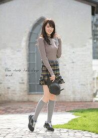 【選べる7サイズ♪】ゴルフウェア レディース スカート イエロー×グリーングレンチェック2段スカート M L 2L(LL XL) 3L 4L 5L 6L 大きいサイズ インナー パンツ ロング丈