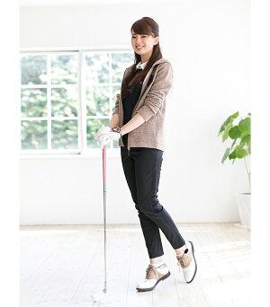 レディースゴルフウェア360度ストレッチブラック美脚パンツレディースゴルフチェックロングパンツ