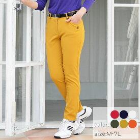 【選べる8サイズ♪】 《6カラー☆》 ゴルフウェア レディース バッグロゴ 裏起毛ストレートパンツ M L 2L(LL XL) 3L 4L 5L 6L 7L 大きいサイズ インナー パンツ パンツスタイル