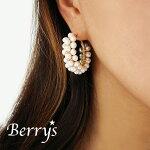 【Berry'sベリーズ】淡水パールフープピアス/美容/健康/安産/真珠/パワーストーン/天然石/ゴールドフィルド/14KGF/パールピアス【ONE】