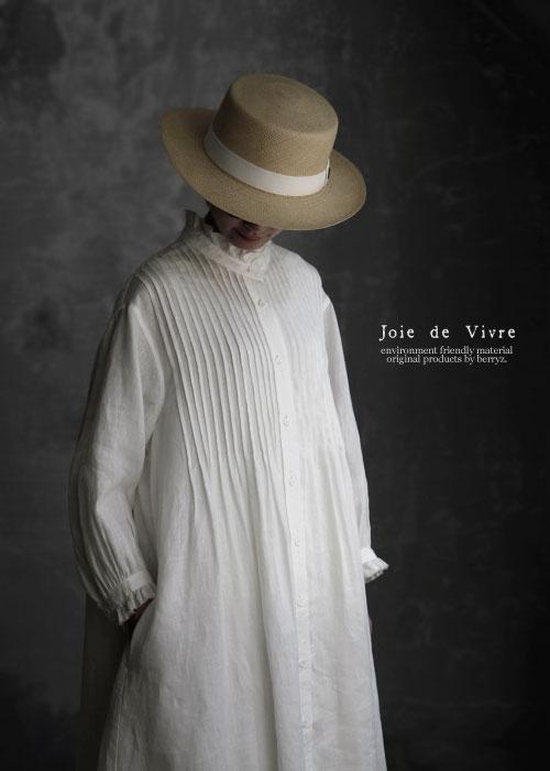 【送料無料】Joie de Vivreフレンチリネンワッシャーピンタックフリルワンピース