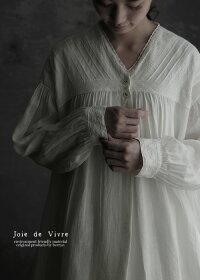 【送料無料】JoiedeVivreフレンチリネンワッシャーノッティンガムデコルタージュドレス