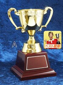 ●優勝カップ「UVメッキ・樹脂製」金【レーザー文字彫刻無料】高さ260mmゴールドカップ M-No2063-Aサイズ