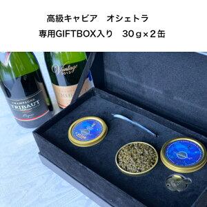【ギフトボックス】 キャビア 30g 缶 2缶入り、フランス、トリボー社高級シャンパンブリュット・プルミエ・クリュ750ml、キャビア、シャンパンセット