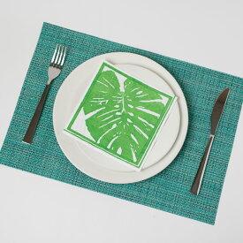 ランチョンマット 撥水 プレースマットスタイリッシュ マット 使いやすい ビニール おしゃれ ランチョンマット カラフル 清潔 簡単 お手入れ簡単 上品 食卓の彩り ホテル使用 長持ち テーブルウエア Wave Brown SCHON+ グリーン