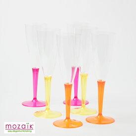 Mozaik シャンパングラス ラズベリー イエロー オレンジステム 各2計6脚入りプラスチックグラス シャンパングラス パーティー食器  スパークリング プラスチックグラス イベント グラス 使い捨て おしゃれ ホームパーティー 女子会 BBQ