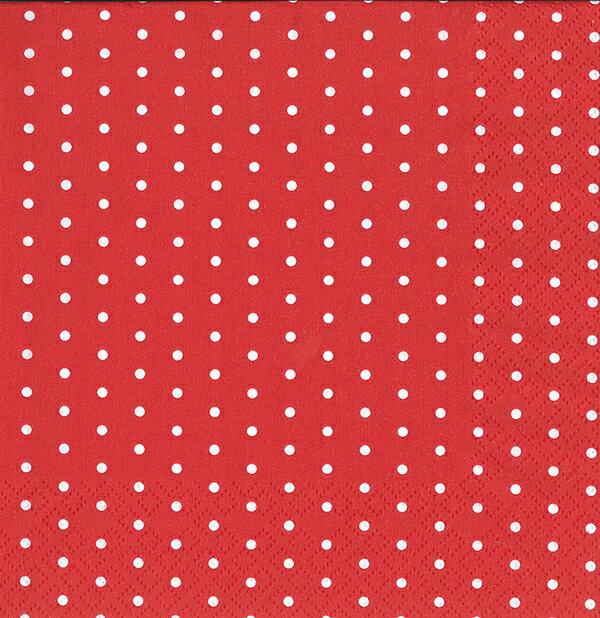 【ペーパーナプキン 紙ナプキン ドット 水玉 レッド 赤 デコパージュ】ドイツ製 SCHON+(シェーンプラス)ファッションペーパータオル Lサイズ 33×33cm 10枚入 3枚重ね Small Dots Red