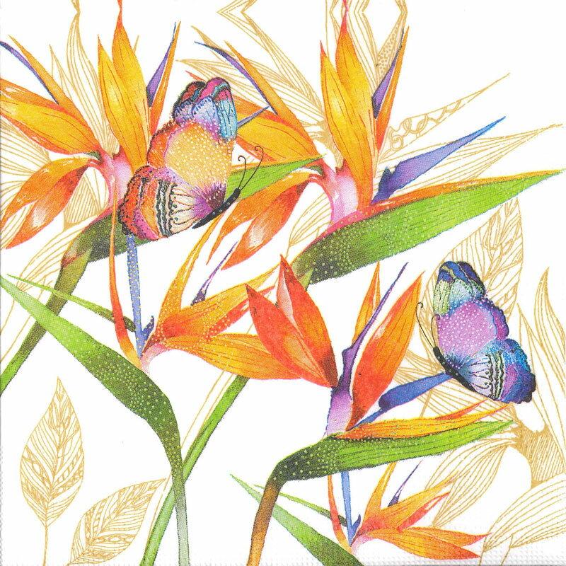 【ペーパーナプキン 紙ナプキン 花柄 デコパージュ】ドイツ製 PPD ファッションペーパータオル Lサイズ 20枚入り Parrot Flower
