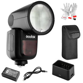 【正規品&技適マーク】Godox V1-Nストロボ セット Nikonカメラ用 磁気丸形ヘッド設計 76Ws 2.4G TTLラウンドヘッドフラッシュスピードライト 1/8000 HSS 480フルパワーショット10レベルLEDモデリングランプ  V1N V1Nフラッシュ 日本語説明書
