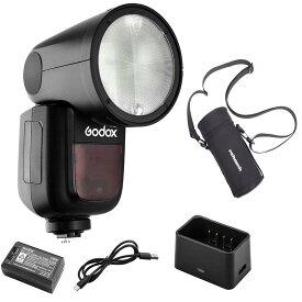 【正規品&技適マーク】Godox V1-Sストロボセット+携帯収納バッグ Sonyカメラ用  磁気丸形ヘッド設計 76Ws 2.4G TTLラウンドヘッドフラッシュスピードライト 1/8000 HSS 480フルパワーショット10レベルLEDモデリングランプ V1Sフラッシュ 日本語説明書付属