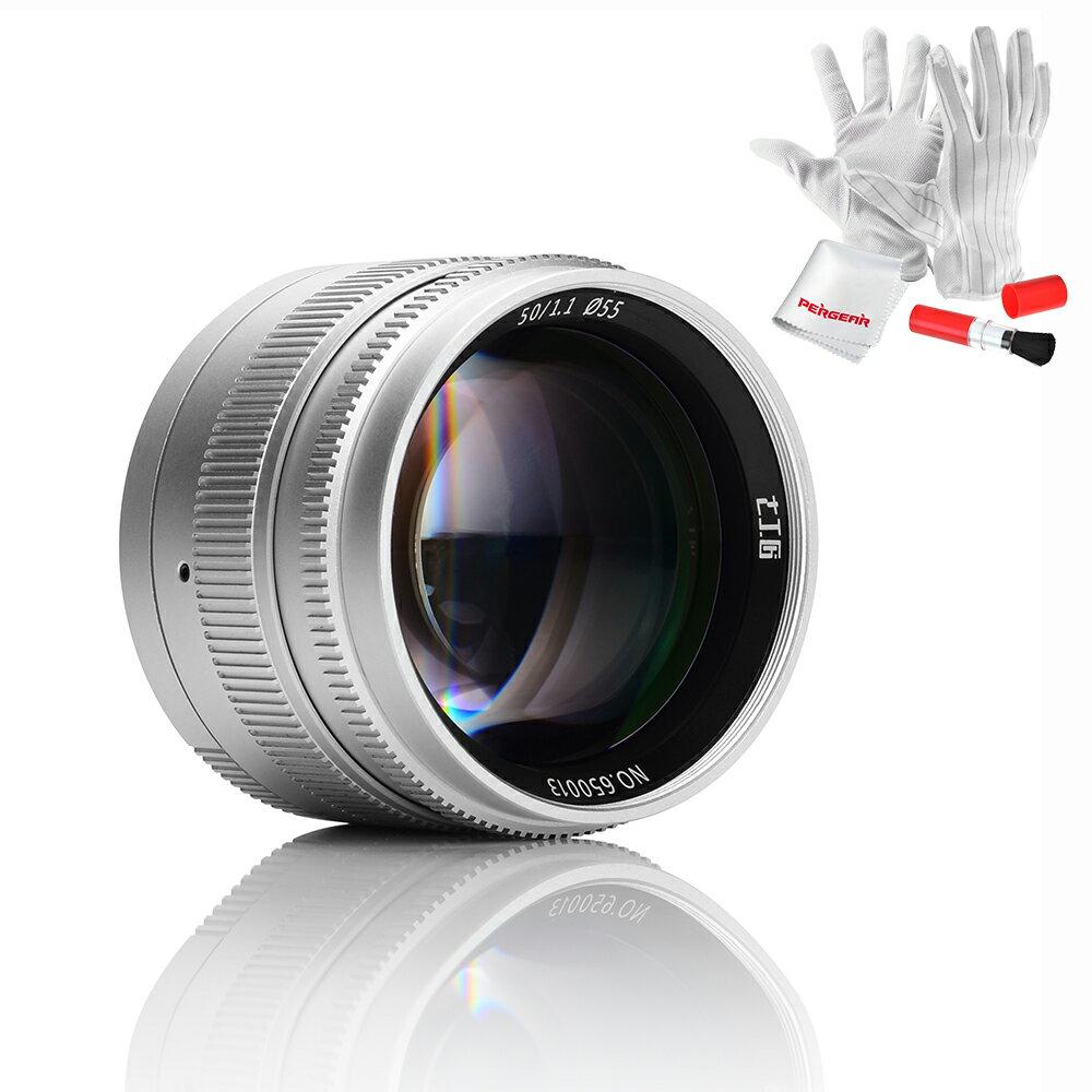 「改良版」七工匠7artisans 50mm F1.1単焦点レンズ  Leica MマウントカメラとソニーEマウントカメラ用  Pergearクリーニングキット付属 1年保証 (シルバー)