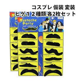 コスプレ 仮装 変装 ヒゲ 12種類×2セット マスク ひげ 髭 24枚セット |L