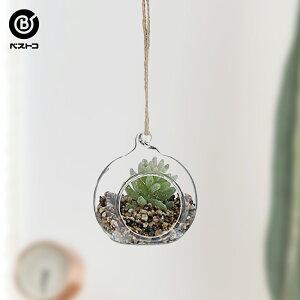 フェイク テラリウムグリーン ハンギング丸S 2 | 観葉植物 壁掛け 壁かけ フェイク ミニ 人工観葉植物 造花 多肉植物 ガラス ガラス鉢 小さい インテリアグリーン おしゃれ プレゼント ギフト