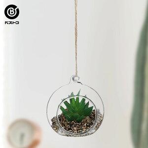 フェイク テラリウムグリーン ハンギング丸M 1 | 観葉植物 壁掛け 壁かけ フェイク ミニ 人工観葉植物 造花 多肉植物 ガラス ガラス鉢 小さい インテリアグリーン おしゃれ プレゼント ギフト