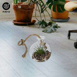 フェイクグリーン テラリウム ハンギング フラスコ No1 | 観葉植物 壁掛け 壁かけ フェイク ミニ 人工観葉植物 造花 多肉植物 ガラス ガラス鉢 小さい インテリアグリーン おしゃれ プレゼン