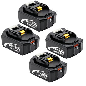 マキタバッテリー四個セット BL1860B マキタ 互換バッテリー 18v 6.0AhLED残量表示付き bl1860b BL1830 BL1840 BL1850 BL1830b BL1840b BL1850b BL1860b 完全対応 電動工具用バッテリー リチウムイオン電池