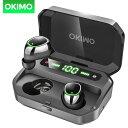 OKIMO LEDディスプレイ付き ワイヤレスイヤホン IPX7防水Bluetooth イヤホン 進化版Bl...