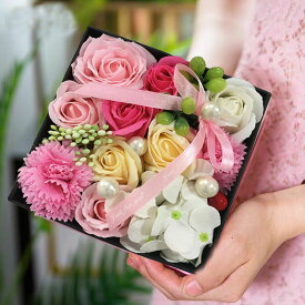 ソープフラワー ギフトボックス 誕生日手作り花 石鹸花 枯れない 花 母の日 誕生日 結婚祝い 結婚記念日 大切な人への感謝 メッセージカード付き