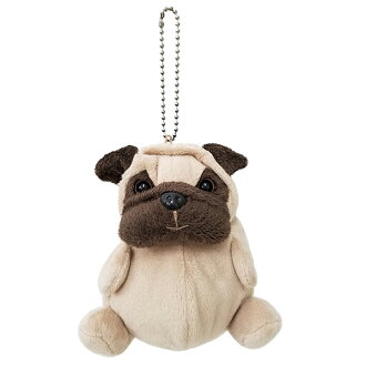 Michicapunt Puppy Pouch・ Pug / A chubby plush Pug-shaped pouch with a zipper opening to a secret compartment!