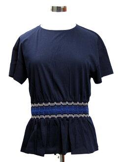 """Point 5 times reduction"" Prada PRADA Lady's short sleeves T-shirt NAVY+AVOR+COBAL 35784R 1I3I EC0"