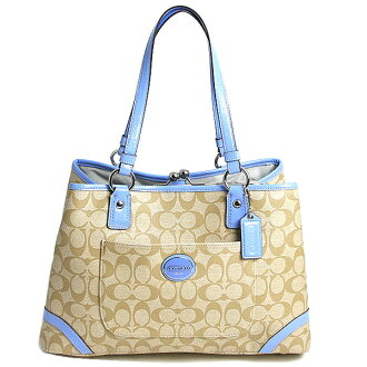 Coach COACH heritage Peyton signature framed shopper carryall coin purse tote bag F23721 SVB61 light khaki / sky