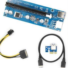 PCI-E 16x 8x 4x 1xパワードライザーアダプターカード、60cm USB 3.0延長ケーブル、ピンPCI-E - SATA電源ケーブル - GPUライザーアダプター