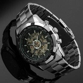 【送料無料・税込み】WINNER TB-56012001 腕時計 シースルー バック お洒落 自動巻き メンズ 重厚 高級 クール 流行