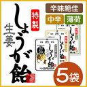 【送料無料】特製しょうが飴 1袋(70g)×5個セット ジンジャー ショウガ <うどんや風一夜薬本舗>