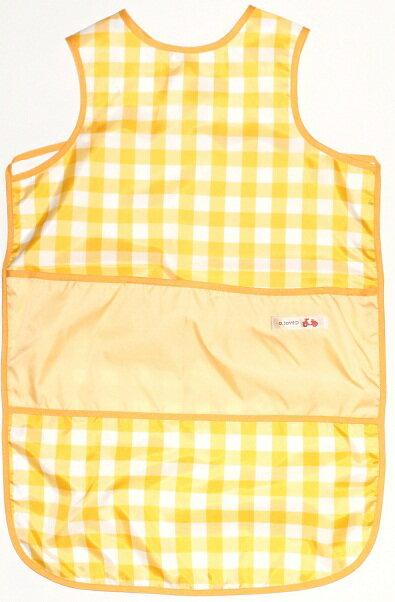 ノースリーブ お食事エプロン ロングタイプ(チェック イエロー) 保育園 ベビー袖なし