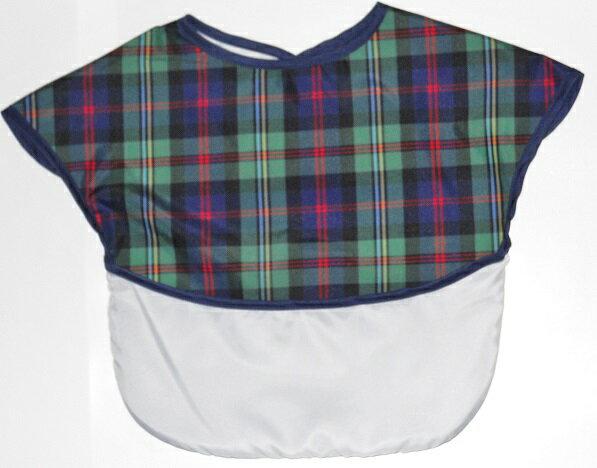 ノースリーブ食事エプロン タータンチェック(ネイビー)立体ポケット