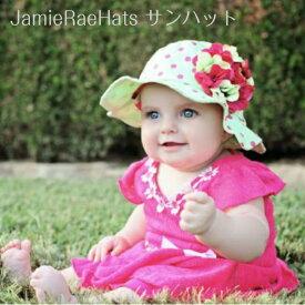 【メール便可】 JamieRaeHats サンハット ライトアロエピンクドット×グリーンラズベリーゼラニウム ジェイミーレイハット 女の子 キッズ 赤ちゃん ベビー 子供 帽子 日よけ 夏 海外 ブランド 運動会 遠足 1歳 2歳 3歳 Light Aloe Sun Hat with Green Raspberry Geraniums