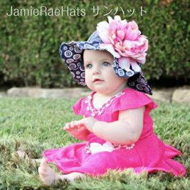 JamieRaeHats サンハット 紺 ネイビーブルー × キャンディピンク ピオニー Navy Blue Sun Hat with Candy Pink Large Peony ジェイミーレイハット 女の子 キッズ 赤ちゃん ベビー 子供 子ども 帽子 日よけ 夏 海外 ブランド 運動会 遠足 子供服 インポート かわいい ハット