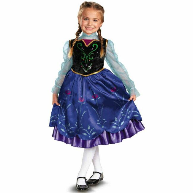 アナ ドレス アナと雪の女王 ディズニー Disney ロング コスチューム ワンピース ★ 仮装 コスプレ キッズ 子供 3-4T 4-6T ディズニープリンセス ドレス 女の子 発表会 コス なりきり プリンセス 3歳 4歳 5歳 6歳 クリスマス ハロウィン パーティ クリスマス コスチューム
